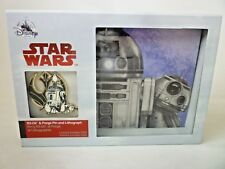 Star Wars R2-D2 & Porgs Pin and Lithograph Set Disney Limited Edition 2000 BNIB