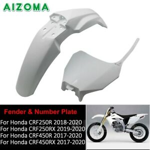 White Supermotor Front Number Plate + Fender for Honda CRF250 CRF450 R/RX