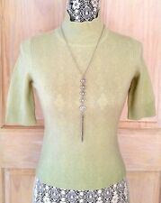 NWOT Ann Taylor 100% CASHMERE Elbow-Sleeve Mock Neck Sweater XS Chartreuse Green