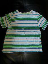 REBEL UK BOYS size 8 - 9 YEARS WHITE GREEN BLUE STRIPED TSHIRT TOP