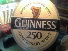 """Guinness 250th Anniversary Beer Sign Metal Embossed Good Used Shape 14.5""""x14.5"""""""