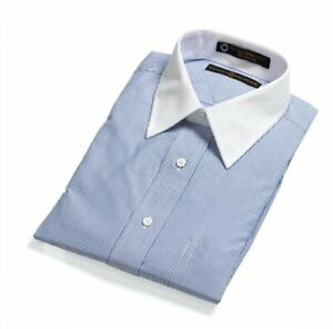New with tags Tommy Hilfiger Blue striped White-collar Dress Shirt men's size XL