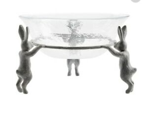 Pottery Barn SILVER FARMER BUNNY Serving BOWL ~EASTER Rabbit! In shipper box