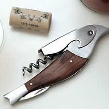 Kikkerland SPARROW Bird CORKSCREW Bottle Opener STAINLESS STEEL Rosewood