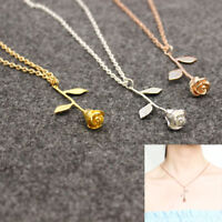 Delicate Rose Flower Pendant Necklace Chain Rose Gold Silver Girl Women Jewelry