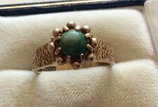 Ladies Unusual Style Hallmarked Vintage 9ct Gold Turquoise Ring Unique - N