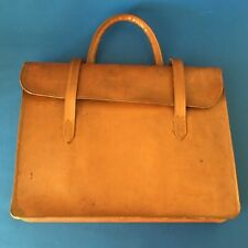 Vintage Leather Briefcase/Document Holder/ Bag With Metal Bar Handle