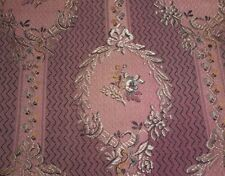 Antique French Cameo Floral Silk Brocade Jacquard Fabric ~ Softened Plum Pink