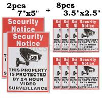 10X Security Notice Protected By 24 Hour Video Surveillance Camera Signs Sticker