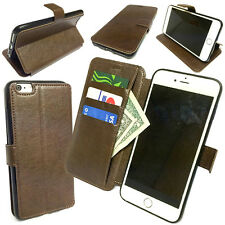 Flip PU Leather Cards Holder Wallet Case Stand Brown for Apple iPhone 6 Plus