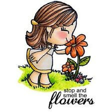 SOME ODD GIRL STOP AND SMELL THE FLOWERS CRAFT CARD STAMP