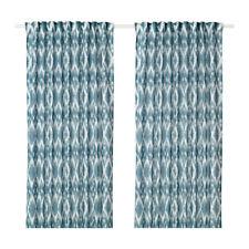 Ikea Curtains, 1 pair BLÅLILJA White/blue,145x250 cm