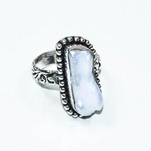 Biwa Pearl Ethnic Gemstone Handmade Gift Jewelry Ring Size 7.25