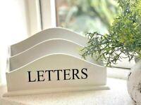 White Letter/Envelope/Mail 2 Rack Entryway/Kitchen Holder