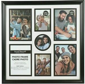 """Collage Photo Frame 7-Picture Black Edge Glass Pane Hanging 12.25""""x12.25"""""""