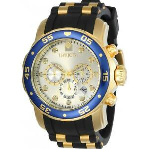 Invicta 17880 Men's Pro Diver Scuba Gold-Tone Black Silicone Chronograph Watch