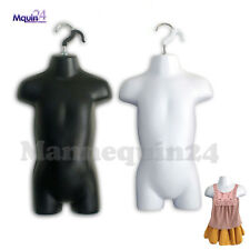 Toddler Mannequin Torsos Set Black White 2 Baby Hanging Dress Forms