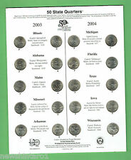 #T47.  2003/2004 USA ISSUE STATE P & D MINT QUARTERS ON CARD