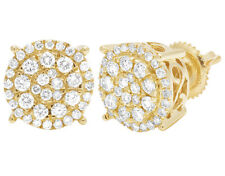 Unisex 10K Yellow Gold Round Cluster Halo Real Diamond Stud Earrings 9mm 1CT