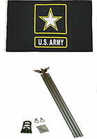 3x5 U.S. Army Star Black Flag w/ 6' Ft Aluminum Flagpole Flag Pole kit