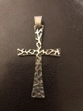 Sterling Silver 925 Vintage Italian UnoAerre Brutalist Cross Christian Pendant