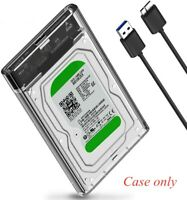 "2.5"" SATA USB 3.0 Laptop External Hard Drive Disk HDD SSD Clear Enclosure Case"