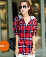 Women Hoodies Button Down Lapel Shirt Plaids Checks Flannel Tops Hooded Blouse