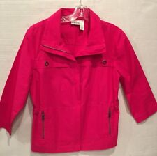 CHICOS 1 Pink Zip Cotton Jacket Chico's Size 1  Womens 8