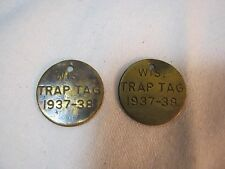 Wis Round 2 Trap Tags 1937 - 1938 Wisconsin Old Trapping Hunting T*