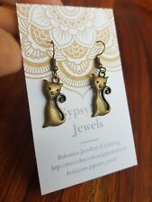 Pussy Cat Bronze Earrings Festival Harmony Womens ♡ Animal Jewellery Cat Lover