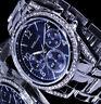 Excellanc Damen Armband Uhr Blau Silber Farben Metall Strass GS-2