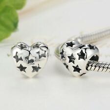 Starry Hollow Openwork Heart Bracelet Charm Sterling Silver S925