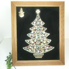Jewelry Christmas Tree Vintage Framed Tree Snowman Sparkle Lighted Holiday Decor