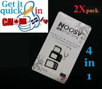 2X 4in1 Nano microSIM Card to Standard Convert Adapter micro sim iphone tablet