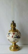 Lampe à pétrole en céramique décor de oiseaux et fleurs fin XIXeme