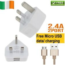 2 Ports USB Wall Charger Mains Power Ireland Adaptor For iPad iPhone Samsung 3A