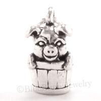 PIG Charm Pendant Farm Animal 925 STERLING SILVER 3D barrel bucket .925