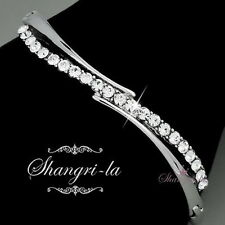 18K WHITE GOLD GP WEDDING Bridal Womens BANGLE w/ SWAROVSKI CRYSTAL F056 SILVER