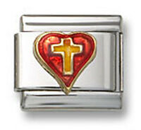 18K Red Enamel Heart Italian Charm Religious Cross Stainless Steel Modular Link