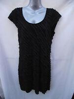 BNWT Womens Sz 14 Lushous Brand Stretch Black Cap Sleeve Textured Dress RRP $70