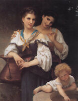 """Beautiful Oil painting Bouguereau - The Secret Young Girls Sister with Child 36"""""""