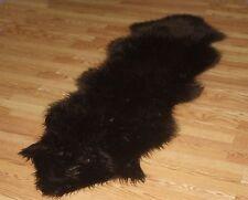 2' x 6' NEW Dark Brown Faux fur Sheepskin DOUBLE Pelt accent rug