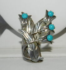 VINTAGE Taxco MEXICO TURQUOISE LILY Flower STERLING SILVER 925 CARLOS Brooch PIN