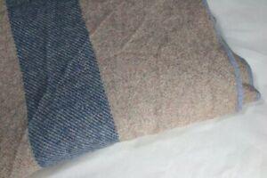 Vintage Oatmeal Blanket w/ Blue Marl Stripe with Pale Blue Edging
