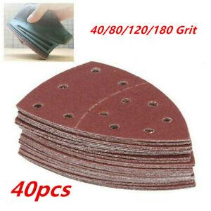 40pcs 11 Holes Mouse Sanding Sheet Hook Loop Palm Sander Pad Triangle Sandpaper