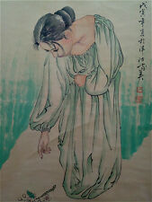 "Excellent Chinese Hand Painting & Scroll ""Beauty"" By He JiaYing 何家英 WED28"