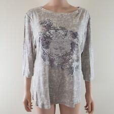 Nicole Miller Womens Top Tee Shirt Tuscany 3/4 Sleeve Cotton 1X