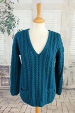 CARRAIG DONN Ireland Teal/jade cable knit Merino Wool jumper size M