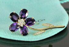 $5500 Tiffany & Co 18K Yellow Gold Oval Purple Amethyst Round Diamond Pin Brooch