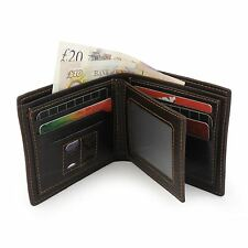 Mens Luxury Brown Leather Wallet Credit Card Holder Purse Pull Out ID Window UK